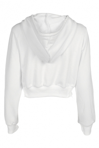 Womens Popular White Plain Long Sleeve Zip Up Crop Casual Jacket