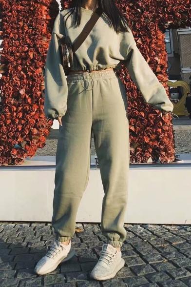 Womens Stylish Light Green Plain Round Neck Drawstring Cuff Long Sleeve Cropped Pullover Sweatshirt, LM567079