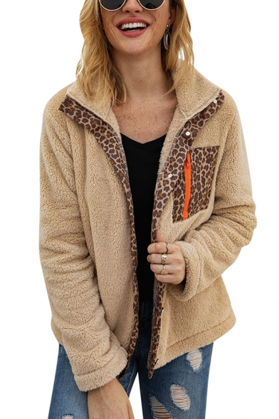 Womens Warm Leopard Patchwork Zipper Pocket Long Sleeve Button Front Fluffy Plush Coat