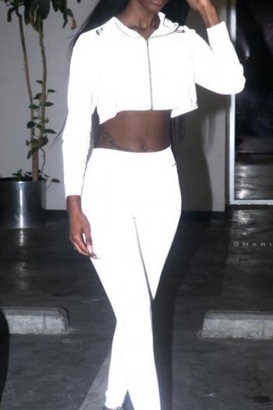 Gray Plain Reflective Fashion Lapel Collar Long Sleeve Zip Cropped Windbreaker Hooded Coat
