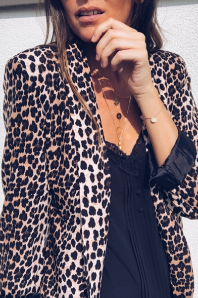 Hot Popular Snakeskin Leopard Print Long Sleeve Open Front Casual Blazer Coat with Pocket