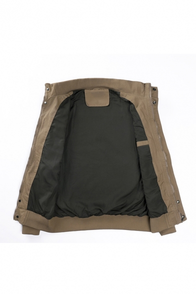 Men's Solid Color Stand Collar Cover Placket Lightweight Air Force Military Jacket Cargo Coat