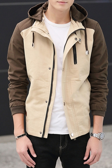 Mens Fashionable Color Block Zip Up Khaki and Brown Casual Thick Jacket Coat with Hood