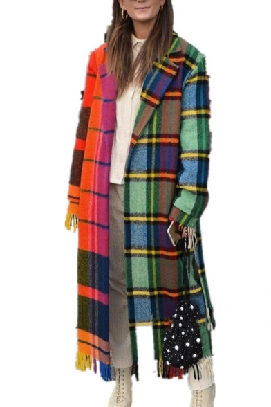 Stylish Contrast Plaid Patchwork Notch Collar Long Sleeve Tassel Hem Longline Wool Coat