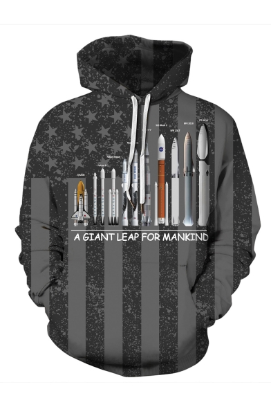 Unisex Fashion 3D Rocket Missiles Printed Striped Stars Pattern Long Sleeve Pullover Hoodie