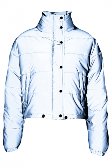 Winter Popular Stand Collar Long Sleeve Single Breasted Gray Reflective Short Down Jacket