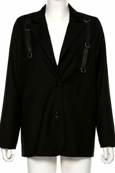 Womens Designer Black Long Sleeve Notched Lapel Collar Belted Blazer Dress