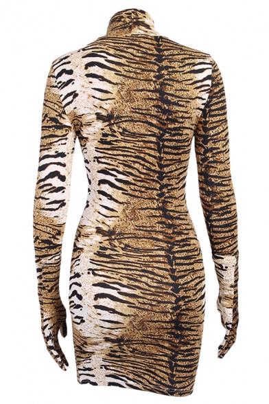 Womens Fashion Tiger Print High Collar Long Sleeve Yellow Mini Bodycon Dress with Gloves