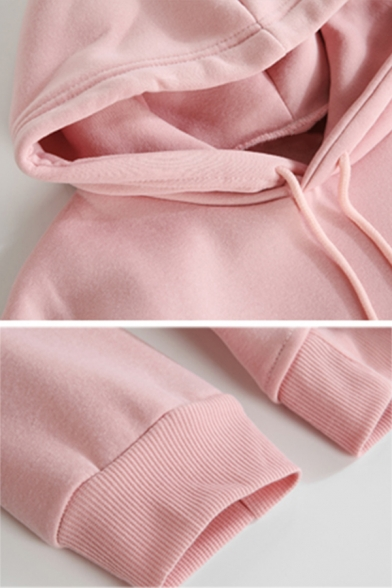 Casual Rose Letter FASHION DEVIL Printed Long Sleeve Oversized Drawstring Thick Hoodie