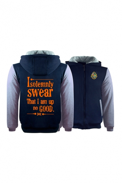 Letter I SOLEMNLY SWEAR THAT I AM UP TO NO GOOD Printed Color Block Panel Long Sleeve Zipper Loose Hoodie