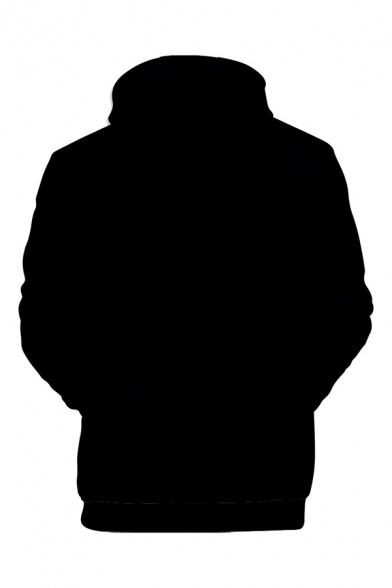 Men's Stylish 3D Printed Bow Tie Tuxedo Suit Pattern Black Long Sleeve Drawstring Hoodie