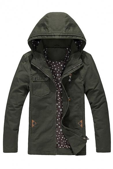 Mens Casual Plain Long Sleeve Zip Placket Slim Fit Army Green Thin Hooded Jacket Coat