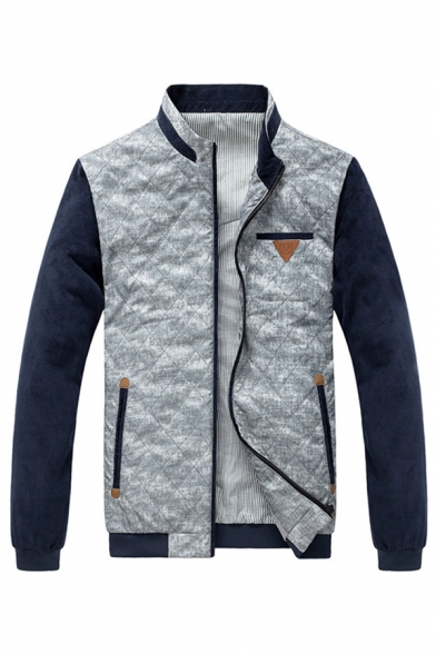 Mens Stylish Color Block PU Panel Elbow Patch Long Sleeve Zip Up Quilted Casual Jacket