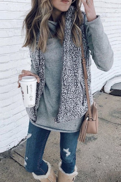 New Fashion Plain Lapel Collar Sleeveless Zip Up Faux Fur Slim Fit Vest