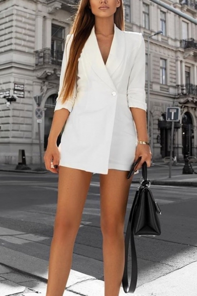 White Elegant 3/4 Sleeve Shawl Collar One Button Slim Fit Wrap Blazer Romper