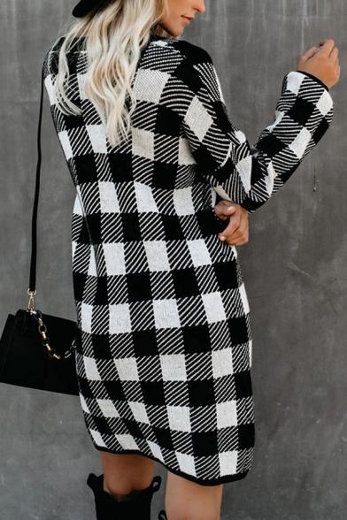 Winter Ladies Vintage Plaid Pattern Long Sleeve Mini Daily Dress