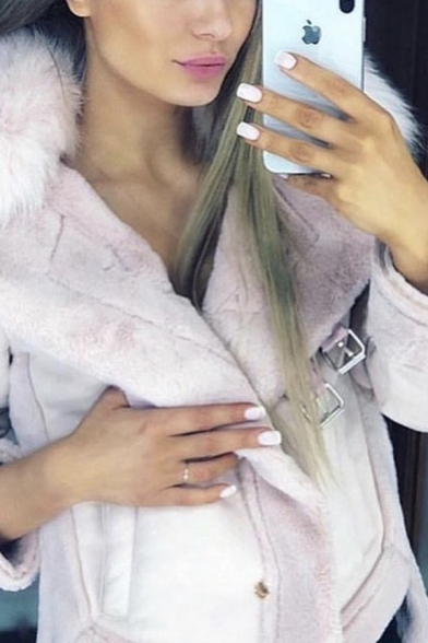 Winter Warm Fur Collar Long Sleeve PU Buckle Strap Detail Side Split High Low Suede Casual Jacket