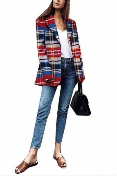 Womens Classic Color Block Plaid Long Sleeve Notched Lapel Button Down Oversized Blazer Coat