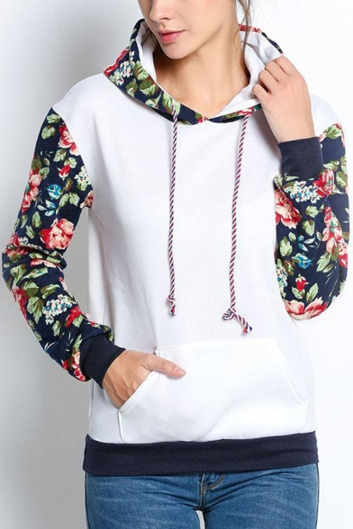 Womens Fashion Colorblock Floral Printed Long Sleeve Drawstring Hoodie with Pocket