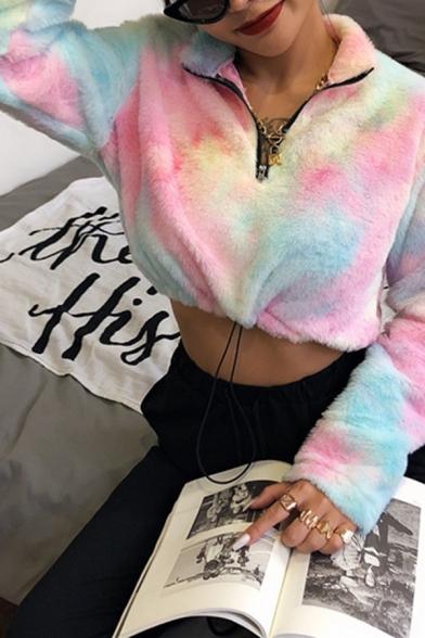 Womens Fashionable Colorful Tie Dye Printed Lapel Collar Half Zip Cashmere Cropped Sweatshirt