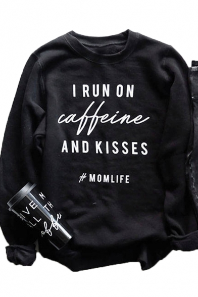 Womens Fashionable Letter I RUN ON CAFFEINE AND KISSES Printed Crew Neck Long Sleeve Sweatshirt, Black;pink;white;gray;yellow, LC567495