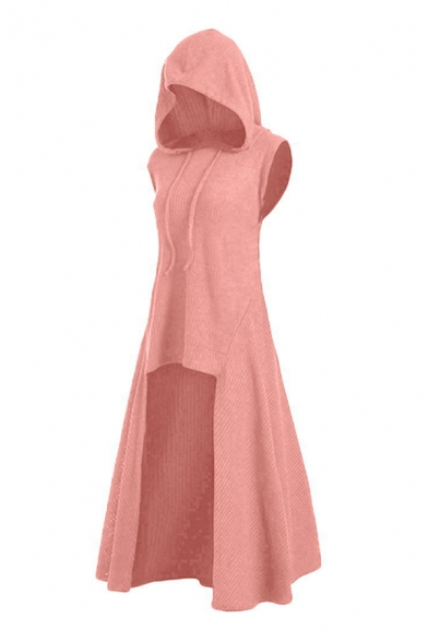 Womens Fashionable Solid Color Sleeveless High Low Hem Maxi Hooded Dress, LC567714, Black;burgundy;dark green;dark navy;pink;coffee