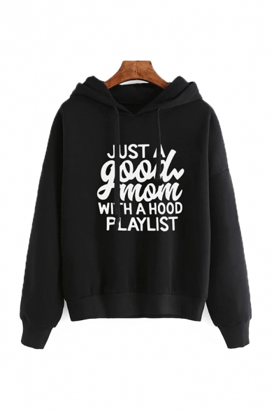 Womens Leisure Letter JUST A GOOD MOM Long Sleeve Loose Drawstring Hoodie, Black;burgundy;green;pink;gray, LC568522