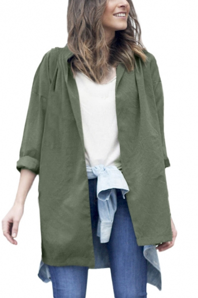Womens Plain Army Green Long Sleeve Open Front Tie Longline Trench Coat