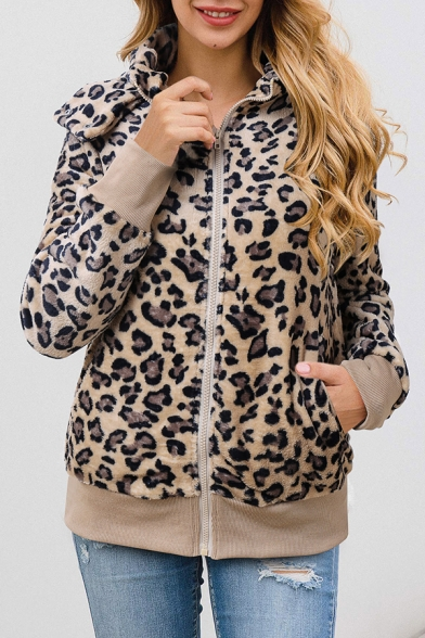 Womens Popular Long Sleeve High Collar Full Zip Hooed Fluffy Coat Jacket with Pocket