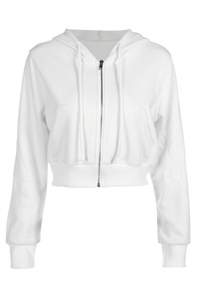 Womens Popular White Plain Long Sleeve Zip Up Crop Casual Jacket