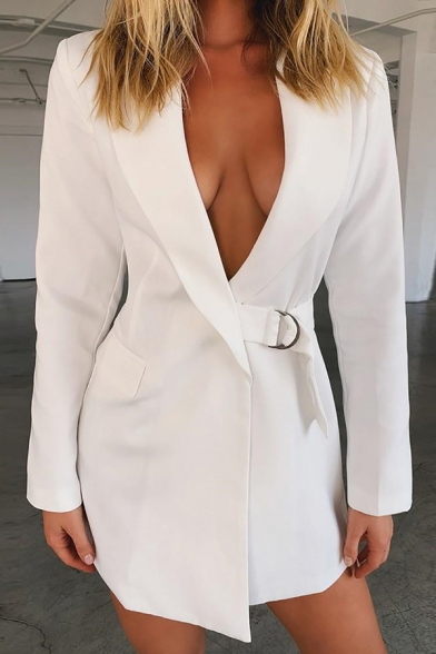 Womens Sexy Solid Color Long Sleeve Tied Waist White Fitted Longline Blazer Coat