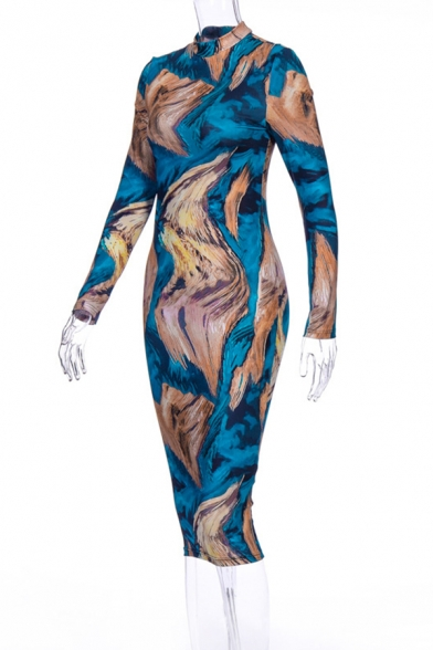 Womens Vintage Abstract Printed Long Sleeve Mock Neck Blue and Khaki Midi Bodycon Dress