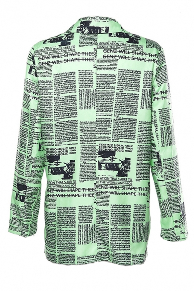 Womens Vintage Green Newspaper Printed Long Sleeve Notched Lapel Oversized Longline Blazer Coat