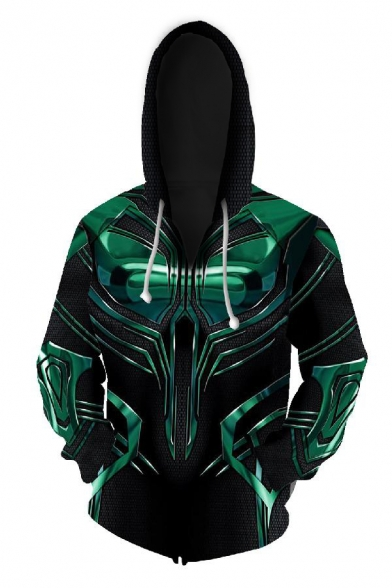 Cool 3D Cosplay Costume Colorblocked Long Sleeve Zipper Hoodie with Pocket