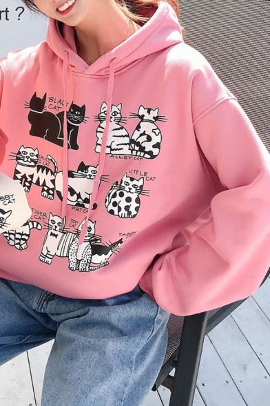 Girls Cartoon Cats Printed Long Sleeve Loose Fit Drawstring Thick Pullover Hoodie
