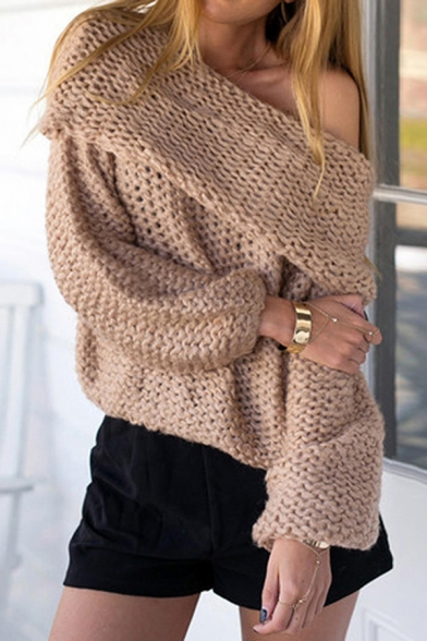 Ladies Sexy Foldover Off Shoulder Plain Long Sleeve Loose Chunky Knit Pullover Sweater, Pink;coffee, LM568991