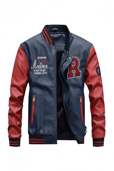 Mens Classic Letter R Printed Colorblock Long Sleeve Rib Cuff Zip Up PU Varsity Baseball Jacket with Zipper Pocket