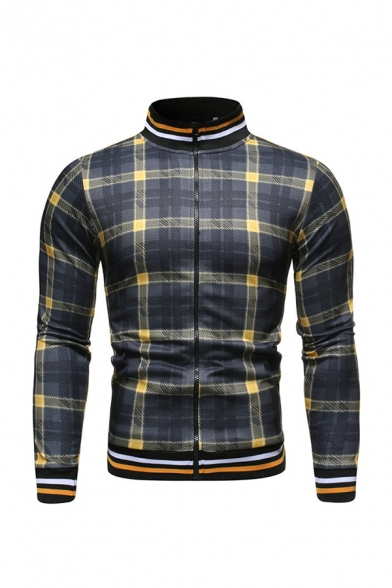 Mens Unique Checked Pattern Long Sleeve Stand Collar Striped Trim Zip Up Slim Fit Casual Varsity Baseball Jacket Coat
