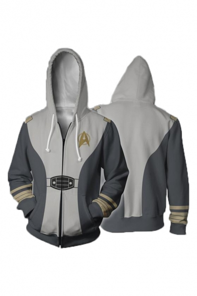 Popular Gray Cosplay Costume Long Sleeve Zip Up Casual Drawstring Hoodie with Pocket