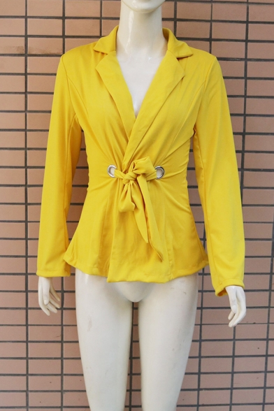 Sexy Yellow Bow Tied Waist Long Sleeve Ruffle Hem Slim Fit Blazer Coat for Office Women