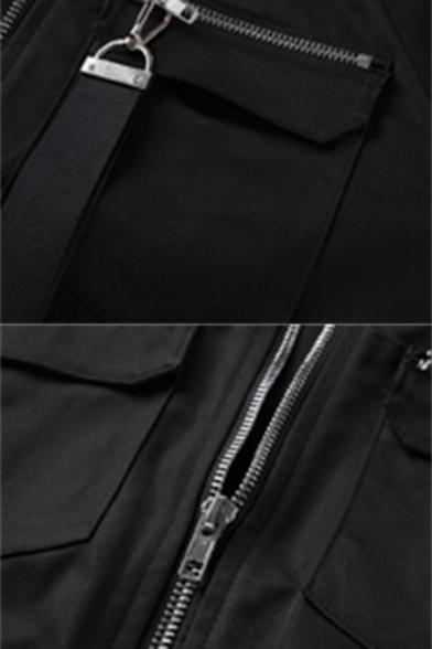 Stylish Womens Long Sleeve Zipper Ribbon Embellished Pocket Cropped Cargo Jacket Coat