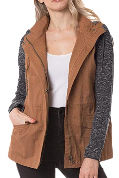 Winter Chic Colorblock Knit Panel Long Sleeve Drawstring Waist Zipper Windbreaker Hooded Coat with Pocket
