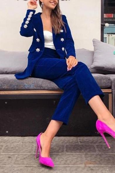 Womens Elegant Dark Blue Chic Button Embellished Slim Pleuche Blazer Coat with Pocket