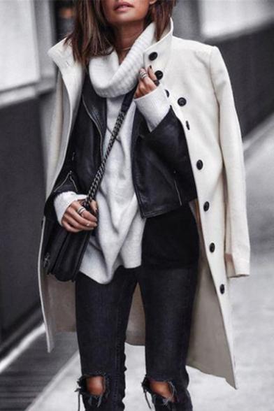 Womens Elegant Plain White Long Sleeve Stand Collar Single Breasted Longline Wool Coat