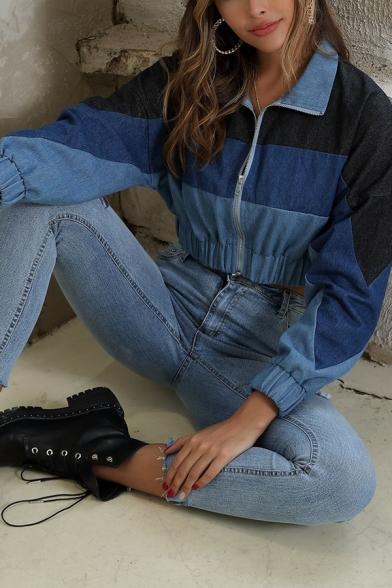 Womens Fashionable Color Block Panel Long Sleeve Zipper Denim Cropped Jacket Coat