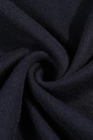 Womens Sexy Cutout Shoulder Long Sleeve Mock Neck Drawstring Pleated Side Black Cashmere Mini Shift Dress