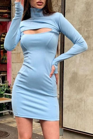 Womens Stylish Plain Gloves Long Sleeve High Collar Cutout Front Mini Tight Dress
