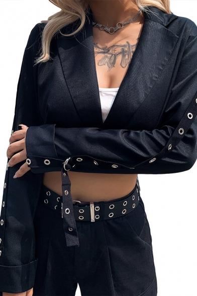 Womens Trendy Lapel Collar Eyelets Tape Embellished Long Sleeve Black Cropped Blazer Coat