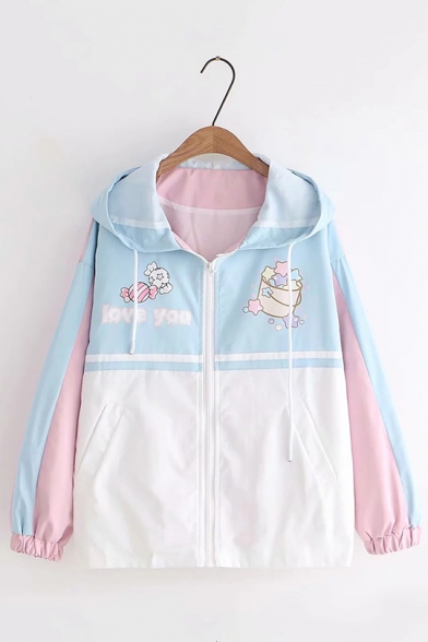 Funny Letter LOVE YOU Candy Star Printed Pink & Blue Colorblock Long Sleeve Zip Up Loose Fit Hooded Jacket Outdoor Windbreaker