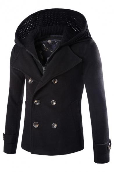 Men Parka Simple Coat Solid Color Fashion Lapel Jacket